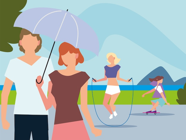 Persone che camminano con l'ombrello, saltare la corda e andare in skateboard all'aperto