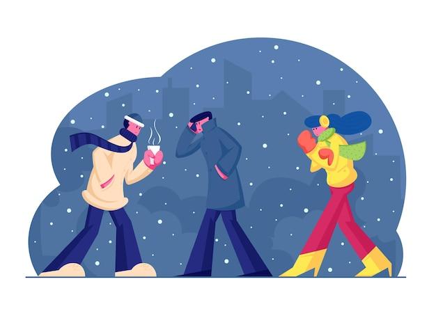 Persone in vestiti caldi che camminano sulla strada nella stagione fredda con neve e vento sul fondo di paesaggio urbano, piatto del fumetto