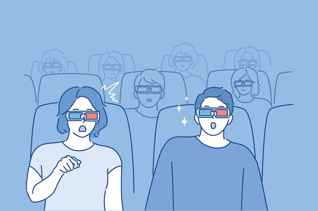 Persone che guardano il concetto di film