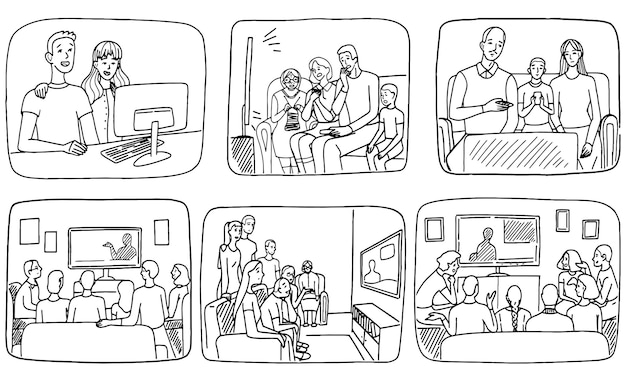 Persone che guardano il telegiornale a casa. famiglie e coinquilini guardano la tv o si siedono al computer. set di illustrazioni vettoriali disegnate a mano. raccolta di semplici scene di scarabocchi.