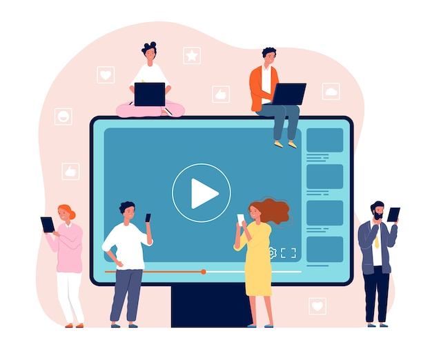 Persone che guardano video. immagine di concetto del lettore video multimediale di intrattenimento in streaming dal vivo della televisione di rete digitale. supporti internet di film, illustrazione di flusso video