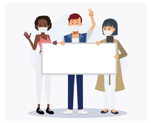 Le persone indossano maschere mediche con cartelli, lavagna bianca, il tuo testo qui. 3 persone. illustrazione del personaggio dei cartoni animati di vettore piatto.