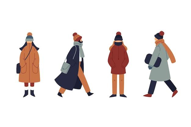 Persone che indossano abiti invernali accoglienti