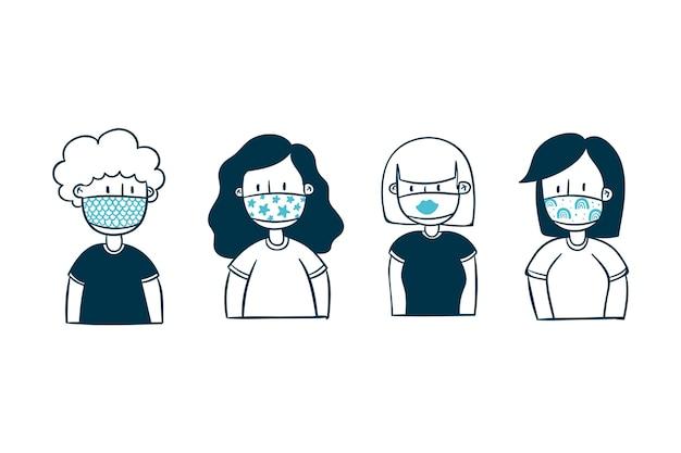 Le persone che indossano maschere in tessuto