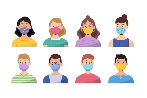 Le persone che indossano maschere per il viso