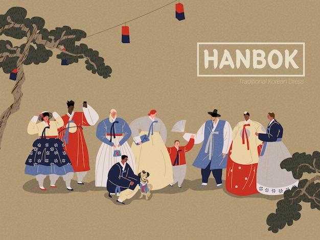 Persone che indossano abiti tradizionali coreani