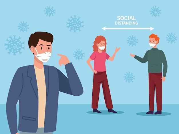 Persone che indossano maschere mediche e freccia di distanza sociale