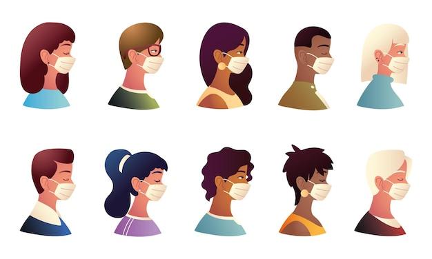 Persone che indossano maschere protettive set