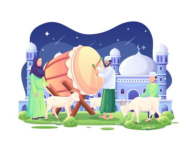 La gente accoglie eid al adha mubarak di notte con alcune capre e un'illustrazione di bedug bed