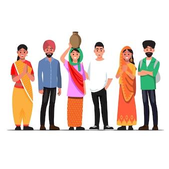 Persone benvenute in india, illustrazione di coppia indiana di cultura diversa