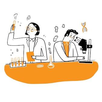Persone in camice bianco, ricercatori chimici con attrezzature di laboratorio.