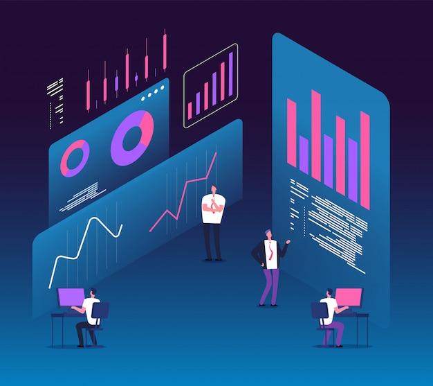 Persone con diagrammi di dati analitici