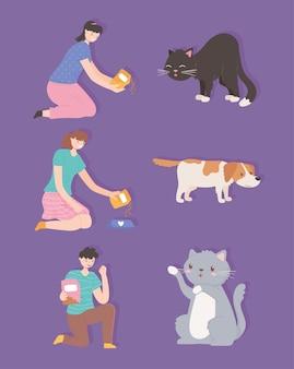 Persone con animali che si nutrono