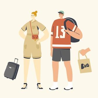 Illustrazione di persone con borse