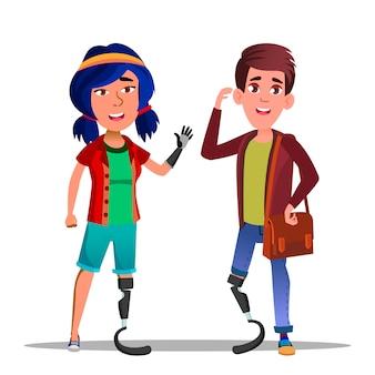 Personaggi dei cartoni animati di persone con gambe bioniche