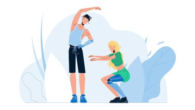 Le persone con gli arti bionici che esercitano fitness