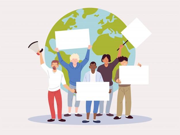 Le persone con cartelli vuoti richiamano l'attenzione sul cambiamento climatico