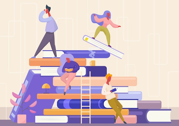 Persone con il concetto di libro. apprendimento, istruzione e scuola, conoscenza, studio e letteratura.