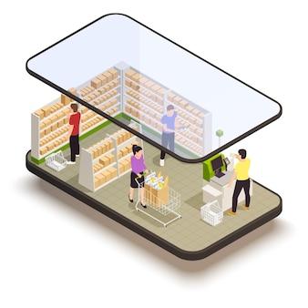 Persone con carrelli in un supermercato utilizzando l'illustrazione isometrica di self checkout