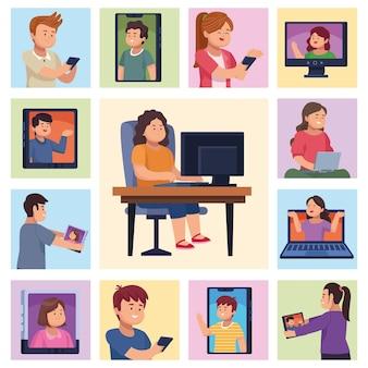 Persone con dispositivo nel gruppo di icone di chat video