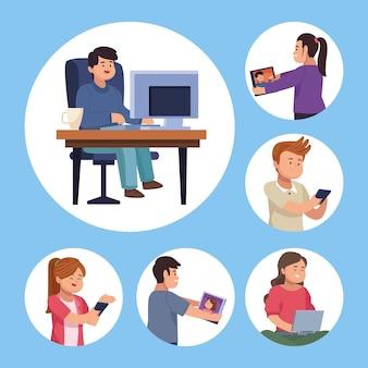 Persone con dispositivo nella raccolta di simboli di chat video