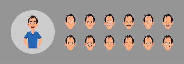 Persone con diverse emozioni facciali impostate. diverse emozioni facciali per animazioni, movimenti o design personalizzati.