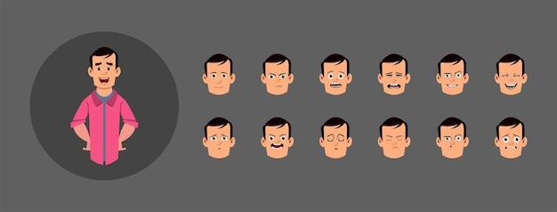 Set di persone con diverse emozioni facciali. diverse emozioni facciali per animazioni, movimenti o design personalizzati.
