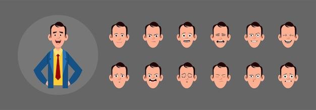 Persone con diversa espressione facciale. diverse emozioni facciali per animazioni, movimenti o design personalizzati.