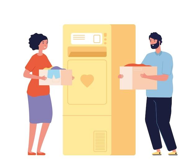 Persone con scatole di donazione. banca di beneficenza di vestiti o cestino per il riciclaggio. felice uomo donna dona abbigliamento, volontari isolati illustrazione vettoriale. carità e donazione, cura benevolenza e aiuto