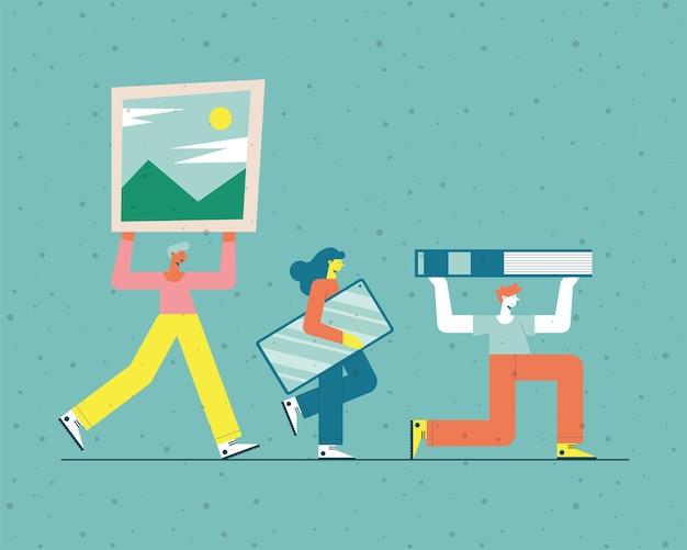 Persone con istruzione cose gruppo icona su sfondo verde