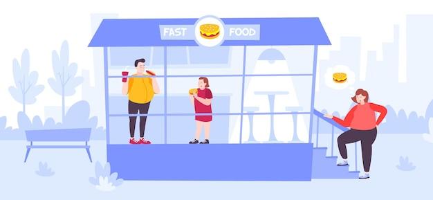 Persone con eccesso di peso e problemi di salute che mangiano al ristorante fast food piatto