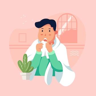 Le persone con la febbre. carattere tremante al freddo. concetto di malattia.