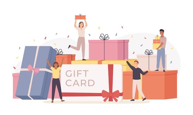 Persone con confezione regalo. scatole regalo giganti e piccoli uomini e donne felici di gruppo, carta regalo, buono sconto. concetto di vettore del modello di pagina di destinazione. personaggi che festeggiano un compleanno o un evento importante