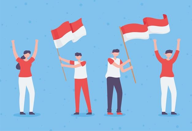 Persone con bandiera indonesiana