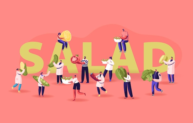 Persone con ingredienti per cucinare il concetto di insalata. piccoli personaggi maschili e femminili che tengono enormi verdure per un alimento sano nutrizione poster banner flyer brochure. illustrazione di vettore piatto del fumetto