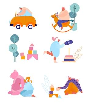 Persone con set di giocattoli per bambini.