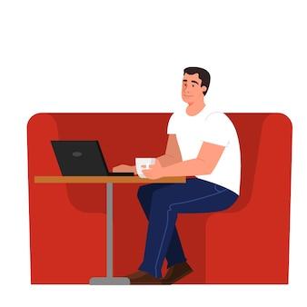 Persone con computer portatile. carattere che lavora al taccuino. uomo seduto alla scrivania. illustrazione