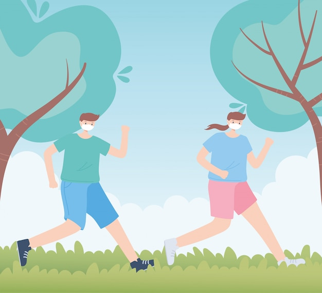 Persone con mascherina medica, coppia che corre nel parco, attività della città durante il coronavirus