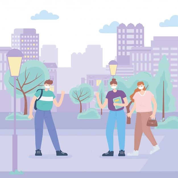 Le persone con mascherina medica, persone che camminano nel parco cittadino durante il coronavirus