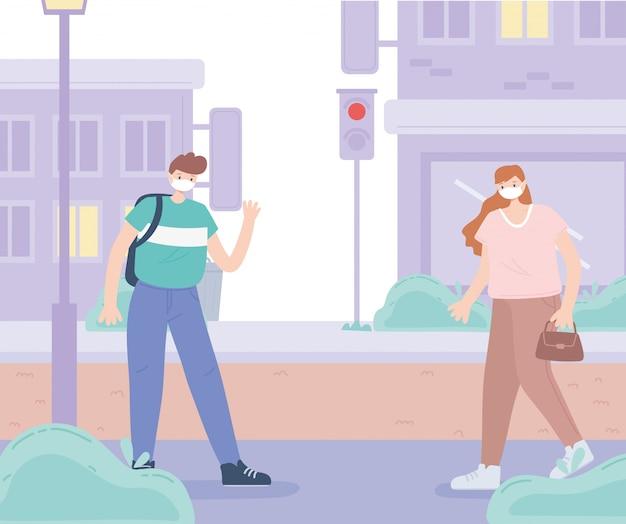 Persone con mascherina medica, donna e ragazzo che camminano per strada, attività in città durante il coronavirus