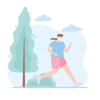 Persone con mascherina medica, donna che corre nel parco, attività della città durante il coronavirus