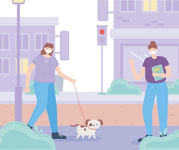 Le persone con mascherina medica, donna con cane e ragazza con libro mantengono la distanza, attività della città durante il coronavirus