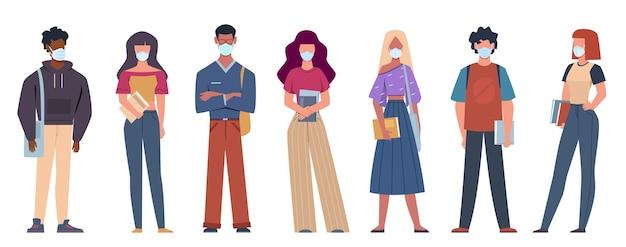 Persone con maschere mediche. giovani multietnici che indossano maschere mediche
