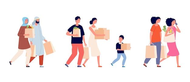 Persone con sacchetti di carta. zero sprechi famiglia, tempo per la spesa. insieme di vettore di scatole e confezioni di cartone della holding della donna dell'uomo. le persone con eco zero rifiuti, riutilizzano l'illustrazione biodegradabile del pacchetto