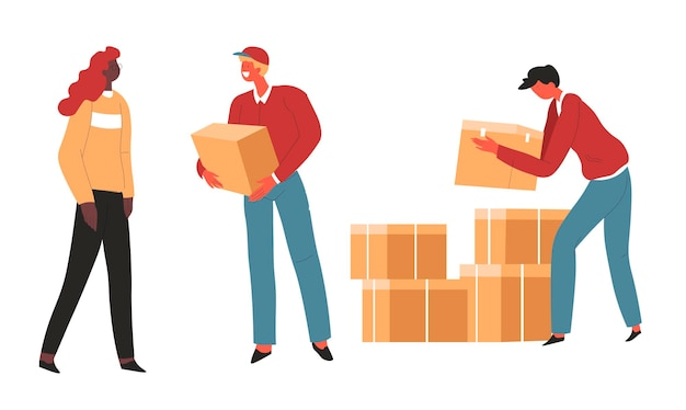 Persone con pacchi e scatole di cartone, fattorini che lavorano con gli ordini del negozio. aiuto umanitario o società di logistica che soddisfa le richieste. trasporto di merci, vettore di vettori in stile piatto