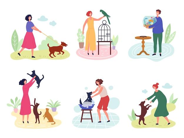 Persone con animali domestici. cane gatti pesci uccelli conigli amano i caratteri vettoriali di animali domestici. illustrazione uccello e pesce, cane e gatto con il proprietario