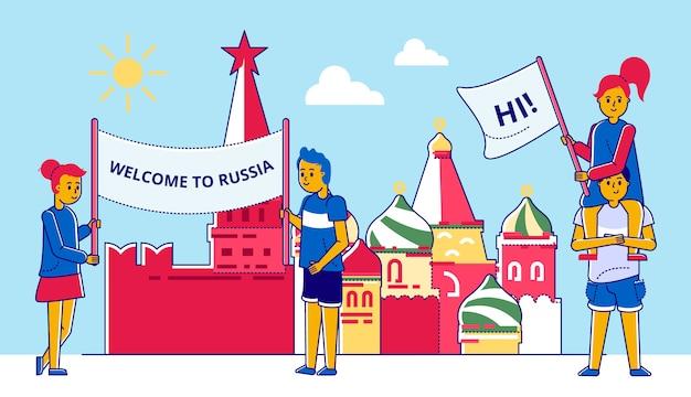 Persone con poster, illustrazione sfondo russia. donna uomo con benvenuto, cultura tradizionale carta estiva. viaggio russo vicino all'edificio del cremlino, in stile mosca.