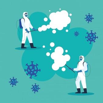 Le persone con tuta protettiva o spruzzi di virus e particelle bramano 19, design illustrazione concetto di disinfezione virus