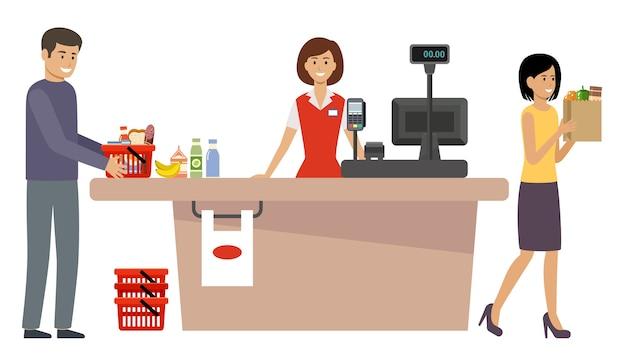 Persone con carrelli della spesa e cestino con il cibo
