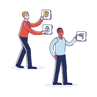 Persone con icone smart house di sicurezza e monitoraggio video